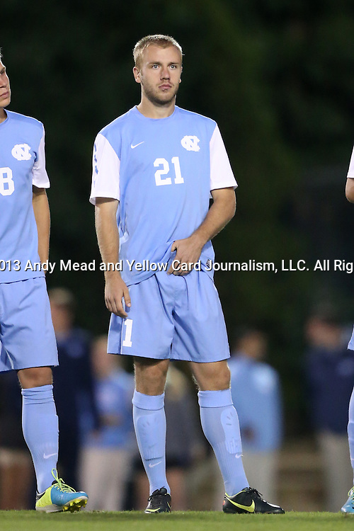 08 October 2013: North Carolina's Cooper Vandermaas-Peeler. The University of North Carolina Tar Heels hosted the Clemson University Tigers at Fetzer Field in Chapel Hill, NC in a 2013 NCAA Division I Men's Soccer match. Clemson won the game 2-1 in overtime.