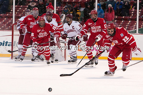 Brett Boeing (UMass - 20), Brandon Hickey (BU - 4), Jake Oettinger (BU - 29), Austin Plevy (UMass - 14), Nick Roberto (BU - 15), Steven Iacobellis (UMass - 16), Dante Fabbro (BU - 17), Tommy Kelley (BU - 22) - The Boston University Terriers defeated the University of Massachusetts Minutemen 5-3 on Sunday, January 8, 2017, at Fenway Park in Boston, Massachusetts.The Boston University Terriers defeated the University of Massachusetts Minutemen 5-3 on Sunday, January 8, 2017, at Fenway Park.