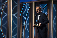 The Golden Globe is awarded to Alexandre Desplat for BEST ORIGINAL SCORE &ndash; MOTION PICTURE for &quot;The Shape of Water&quot; at the 75th Annual Golden Globe Awards at the Beverly Hilton in Beverly Hills, CA on Sunday, January 7, 2018.<br /> *Editorial Use Only*<br /> CAP/PLF/HFPA<br /> &copy;HFPA/PLF/Capital Pictures