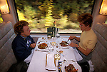 Canada: Dining car of the train The Rocky Mountaineer between Vancouver and Banff.  Photo #: cnrail104.Photo copyright Lee Foster, 510/549-2202, lee@fostertravel.com, www.fostertravel.com