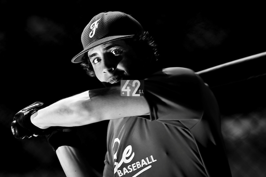 Florian Pavia (France) takes batting practice during a 12 days training camp in Cuba, accross the country.