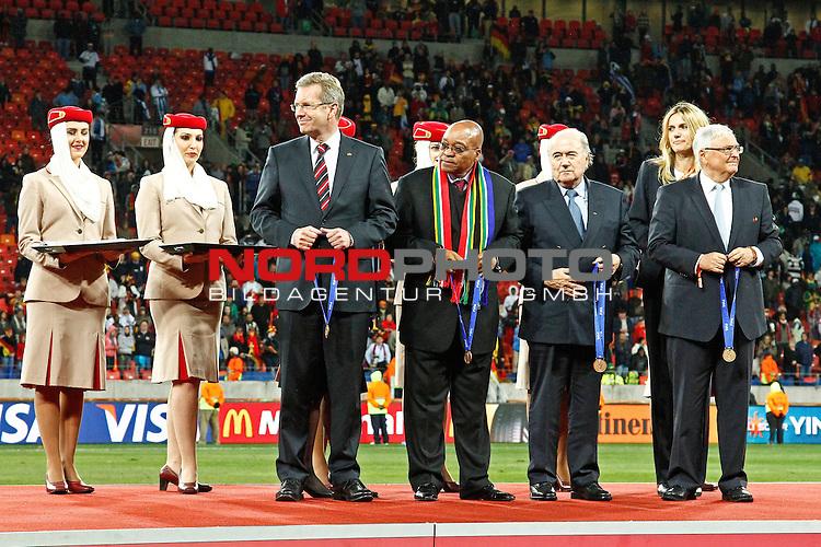 President Zuma and S Blatter during the FIFA World Cup 2010 3rd Place Play off match between Uruguay and Germany held at The Nelson Mandela Bay Stadium  in Port Elizabeth, South Africa on the 10 July 2010<br /> <br /> <br />  <br /> <br /> Foto &copy;  nph /  Kokenge *** Local Caption *** Fotos sind ohne vorherigen schriftliche Zustimmung ausschliesslich f&uuml;r redaktionelle Publikationszwecke zu verwenden.<br /> <br /> Auf Anfrage in hoeherer Qualitaet/Aufloesung