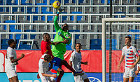 CARSON, CA - FEBRUARY 1: GK Sean Johnson #1 of the United States punches out a clearing ball during a game between Costa Rica and USMNT at Dignity Health Sports Park on February 1, 2020 in Carson, California.