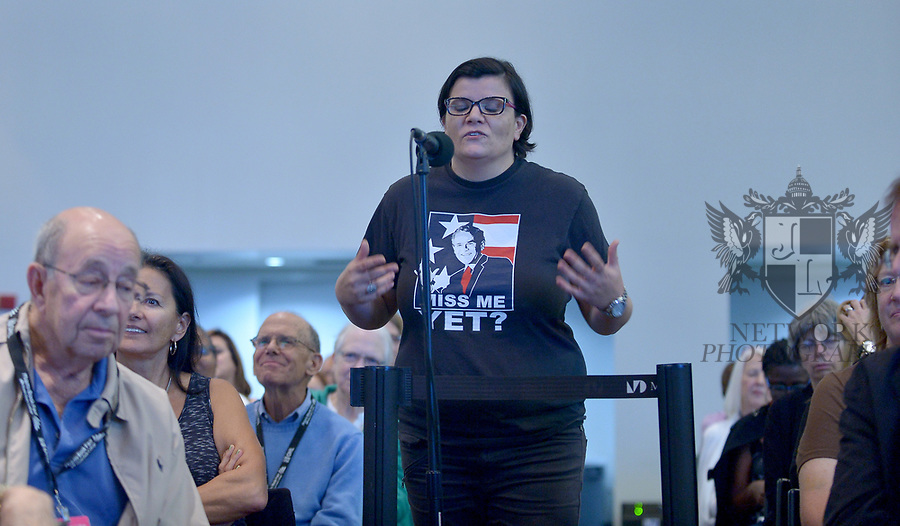 "MIAMI, FL - NOVEMBER 16: Atmosphere of a attendee wearing a shirt with a picture of President George W. Bush saying "" Miss Me Yet?"" during An Evening With Barbara Pierce Bush and Jenna Bush Hagar at The Miami Book Fair at Miami Dade College Wolfson - Chapman Conference Center on November 16, 2017 in Miami, Florida.  ( Photo by Johnny Louis / jlnphotography.com )"