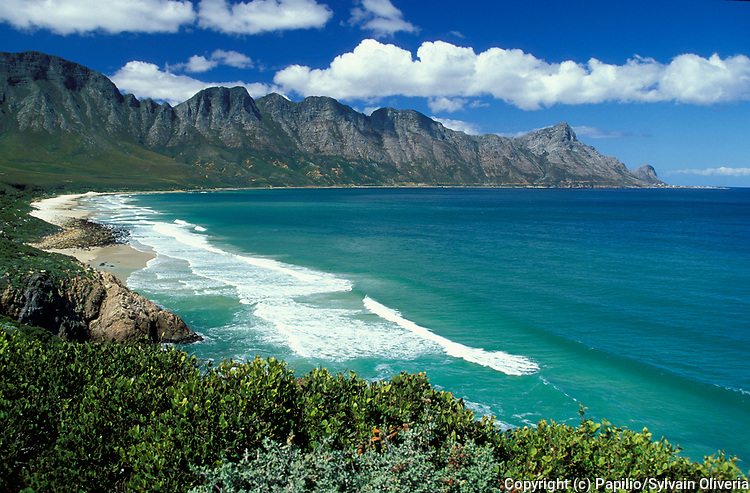 View of beach, waves, and coastline, Franschhoekberge, South Africa, Garden Route