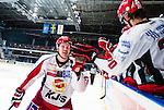 Stockholm 2013-12-28 Ishockey Hockeyallsvenskan Djurg&aring;rdens IF - Almtuna IS :  <br /> Almtuna Tobias Hage gratuleras av lagkamrater Almtuna Alen Bibic efter sitt m&aring;l p&aring; straff i straffl&auml;ggningen efter ordinarie matchtid<br /> (Foto: Kenta J&ouml;nsson) Nyckelord:  jubel gl&auml;dje lycka glad happy