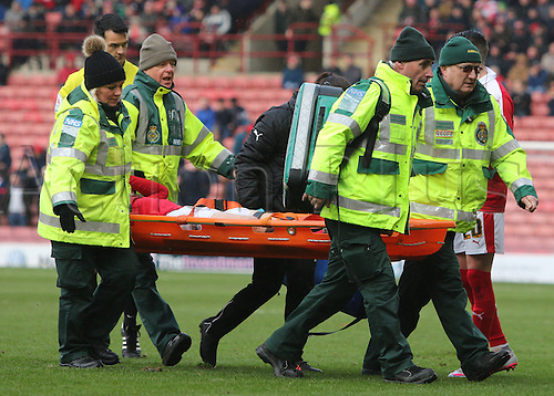 20.02.2016. Oakwell Stadium, Barnsley, England. Skybet League One. Barnsleys Aidan White is treated by medics and taken off the field on a stretcher