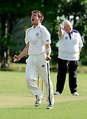 Scottish National Cricket League play-off match - Kelburne CC V Perth Strathearn CC at New Williamfield, Stirling - Kelburne capt Steven McLister celebrates a wicket, given lbw by umpire Gordon Whitelaw - Picture by Donald MacLeod 12.9.10 - mobile 07702 319 738 - clanmacleod@btinternet.com