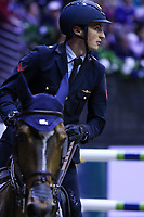 OMAHA, NEBRASKA - APR 2: Lorenzo De Luca rides Ensor de Litrange LXII during the Longines FEI World Cup Jumping Final at the CenturyLink Center on April 2, 2017 in Omaha, Nebraska. (Photo by Taylor Pence/Eclipse Sportswire/Getty Images)