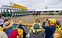 BALTIMORE, MD - MAY 20: Race fans watch as horses exit the gate at the start of an undercard race on Preakness Stakes Day at Pimlico Race Course on May 20, 2017 in Baltimore, Maryland.(Photo by Scott Serio/Eclipse Sportswire/Getty Images)