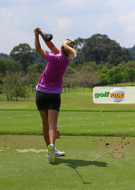 Anna Nordqvist (SWE) on the driving range during the Tuesday Practice Day of the Honda LPGA at the Siam Country Club Old Course in Pattaya on Tuesday 24th February 2015.<br /> Picture:  Thos Caffrey / www.golffile.ie