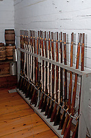 Muskets lined up in a rack, Fort George, Niagara-on-the-Lake