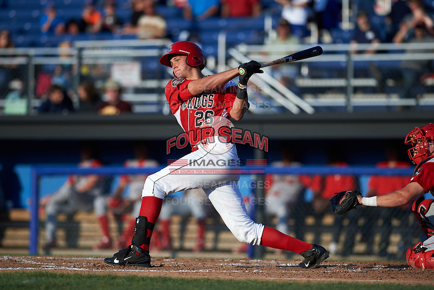 Batavia Muckdogs catcher Blake Anderson (26) at bat during a game against the Williamsport Crosscutters on July 15, 2015 at Dwyer Stadium in Batavia, New York.  Williamsport defeated Batavia 6-5.  (Mike Janes/Four Seam Images)