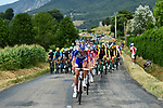 The peloton led by Groupama-FDJ during Stage 13 of the 2018 Tour de France running 169.5km from Bourg d'Oisans to Valence, France. 20th July 2018. <br /> Picture: ASO/Alex Broadway | Cyclefile<br /> All photos usage must carry mandatory copyright credit (© Cyclefile | ASO/Alex Broadway)