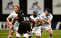 17th November 2019,  Paris La Défense Arena, Hauts-de-Seine, France; Champions Cup Rugby Union, Racing 92 versus Saracens;  EDDY BEN AROUS  (Racing ) ANTONIE CLAASSEN (Racing ) and Baptiste CHOUZENOUX (Racing ) see their open field run covered by Joel Kpoku of Saracens