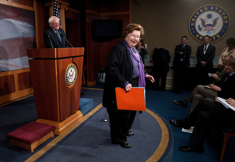 UNITED STATES - MARCH 15:  Sen. Bernie Sanders, I-Vt., laughs as Sen. Barbara Mikulski, D-Md., jokes with reporters in the Senate Radio-TV Gallery studio before the start of their press conference on Social Security on Tuesday, March 15, 2011. (Photo By Bill Clark/Roll Call)