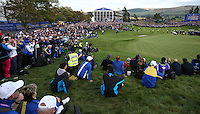 The last hole during Sunday's Singles at the 2014 Ryder Cup from Gleneagles, Perthshire, Scotland. Picture:  David Lloyd / www.golffile.ie