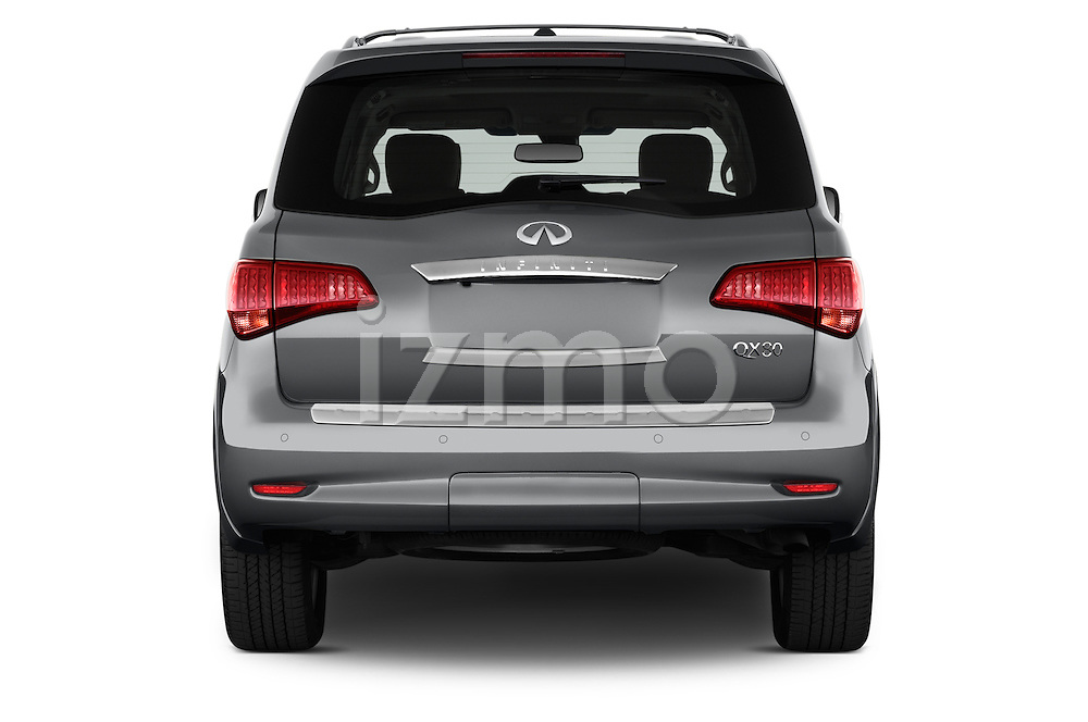 Straight rear view of a 2017 Infiniti QX80 3.5 5 Door SUV Rear View  stock images