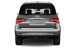 Straight rear view of a 2015 Infiniti QX80 3.5 5 Door SUV Rear View  stock images