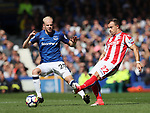 Everton's Davy Klaassen tussles with Stoke's Xherdan Shaqiri during the premier league match at Goodison Park, Liverpool. Picture date 12th August 2017. Picture credit should read: David Klein/Sportimage