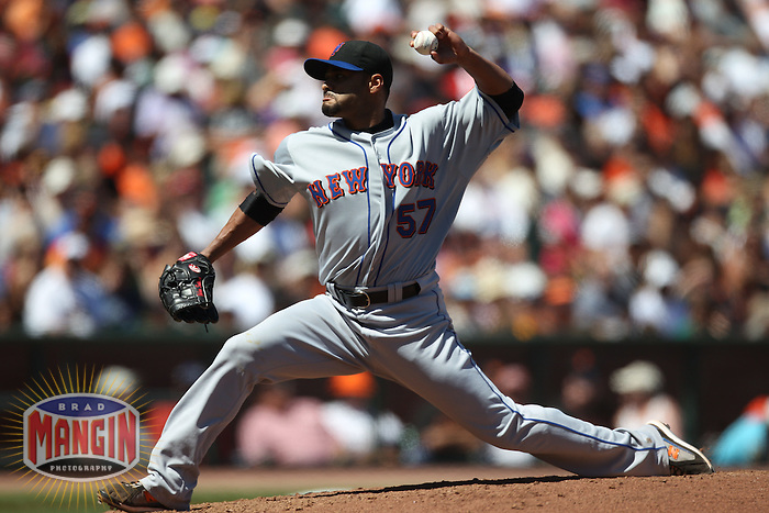 SAN FRANCISCO - JULY 18:  Johan Santana #57 of the New York Mets pitches against the San Francisco Giants during the game at AT&T Park on July 18, 2010 in San Francisco, California. Photo by Brad Mangin