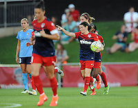 Boyds, MD - Saturday June 25, 2016: Diana Matheson celebrates scoring prior to a United States National Women's Soccer League (NWSL) match between the Washington Spirit and Sky Blue FC at Maureen Hendricks Field, Maryland SoccerPlex.