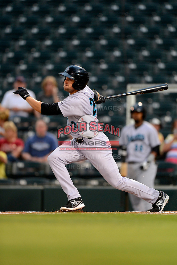 Jupiter Hammerheads outfielder Ryan Rieger #23 during a game against the Fort Myers Miracle on April 9, 2013 at Hammond Stadium in Fort Myers, Florida.  Fort Myers defeated Jupiter 1-0.  (Mike Janes/Four Seam Images)
