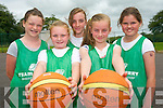 Practising their basketball skills at the Team Kerry Basketball Camp in Tralee last week. .Front L-R Sarah McCarthy and Aisling O'Connell.Back L-R Rachel Godley, Leah O'Neill and Aisling Harty.