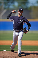 New York Yankees Freicer Perez (19) during a minor league Spring Training game against the Toronto Blue Jays on March 22, 2016 at Englebert Complex in Dunedin, Florida.  (Mike Janes/Four Seam Images)