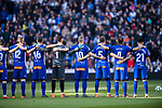 Players of Deportivo Alaves line up and pose for photos prior to the La Liga 2017-18 match between Real Madrid and Deportivo Alaves  at Santiago Bernabeu Stadium on February 24 2018 in Madrid, Spain. Photo by Diego Souto / Power Sport Images