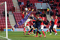 Barnsley's Mads Andersen heads the ball past goalkeeper, Dillon Phillips and just wide of the Charlton goal during Charlton Athletic vs Barnsley, Sky Bet EFL Championship Football at The Valley on 1st February 2020