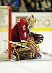 9 January 2009: Boston College Eagles' goaltender John Muse, a Sophomore from East Falmouth, MA, makes a second period save during the first game of a weekend series against the University of Vermont Catamounts at Gutterson Fieldhouse in Burlington, Vermont. The Catamounts scored with one second remaining in regulation time to earn a 3-3 tie with the visiting Eagles. Mandatory Photo Credit: Ed Wolfstein Photo