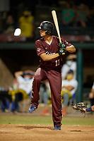Macon Bacon Cole Gambill (17) bats during a Coastal Plain League game against the Savannah Bananas on July 15, 2020 at Grayson Stadium in Savannah, Georgia.  (Mike Janes/Four Seam Images)