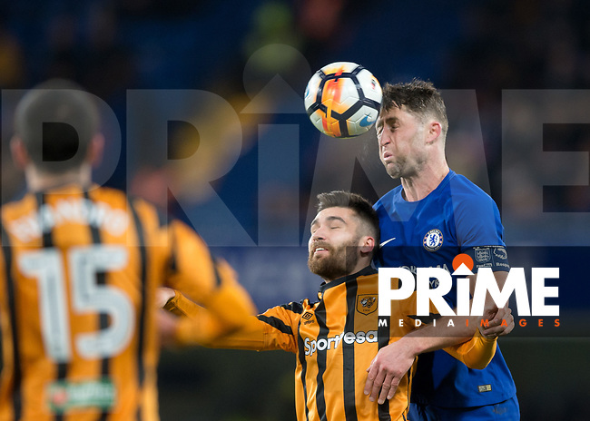 Gary Cahill of Chelsea heads the ball clear from Jon Toral of Hull City during the FA Cup 5th round match between Chelsea and Hull City at Stamford Bridge, London, England on 16 February 2018. Photo by Vince  Mignott / PRiME Media Images.