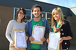 Elaine Nutley, James Carter and Christina Joksaite with there Leaving cert result..Picture Fran Caffrey www.newsfile.ie