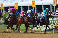 Baltimore, MD - May 18, 2019: Jockey Tyler Gaffalione aboard War of Will (third from right) comes from behind to win the 144th running of the Preakness at the Pimlico Race Course in Baltimore, MD May 18, 2019.  (Photo by Don Baxter/Media Images International)