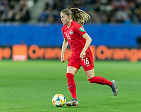 GRENOBLE, FRANCE - JUNE 15: Janine Beckie #16 of the Canadian National Team dribbles during a game between New Zealand and Canada at Stade des Alpes on June 15, 2019 in Grenoble, France.