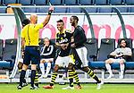 Solna 2015-07-12 Fotboll Allsvenskan AIK - GIF Sundsvall :  <br /> AIK:s Henok Goitom f&aring;r ett gult kort av domare Stefan Johannesson efter att tagit av sig sin matchtr&ouml;ja i samband med sitt 3-1 m&aring;l under matchen mellan AIK och GIF Sundsvall <br /> (Foto: Kenta J&ouml;nsson) Nyckelord:  AIK Gnaget Friends Arena Allsvenskan GIF Sundsvall Giffarna varning gult kort jubel gl&auml;dje lycka glad happy