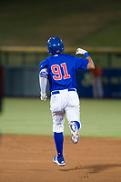 AZL Cubs center fielder Jose Gutierrez (91) celebrates after hitting a lead-off home run in the first inning against the AZL Giants on September 6, 2017 at Sloan Park in Mesa, Arizona. AZL Giants defeated the AZL Cubs 6-5 to even up the Arizona League Championship Series at one game a piece. (Zachary Lucy/Four Seam Images)