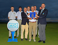 Limerick winners of the Munster Final of the AIG Senior Cup at Tralee Golf Club, Tralee, Co Kerry. 12/08/2017<br /> <br /> Back Row:<br /> Justin Keogh, Ciaran Vaughan, Owen O'Brien, Sean Poucher and Michael Reddan.<br /> Front Row:<br /> Noel Sexton (Club Captain), Ger Vaughan (Team Captain) and Jim Long (Chairman Munster Golf GUI).<br /> <br /> Picture: Golffile | Thos Caffrey<br /> <br /> All photo usage must carry mandatory copyright credit     (&copy; Golffile | Thos Caffrey)