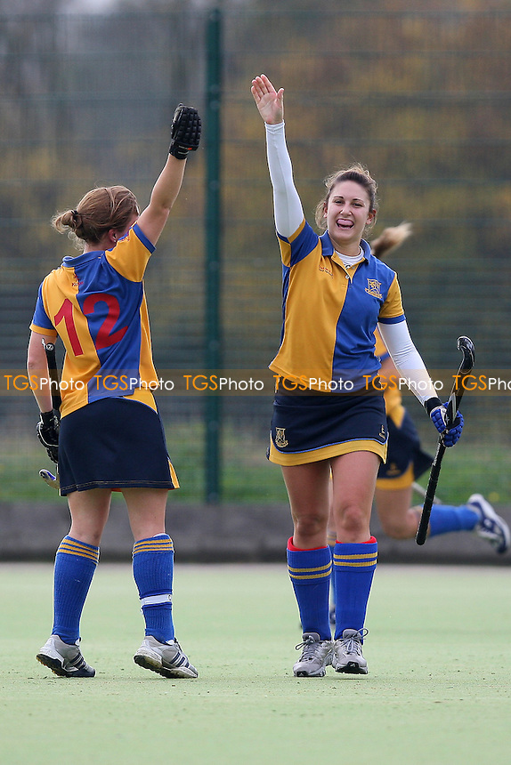 Upminster score their third goal and celebrate - Havering HC Ladies vs Upminster HC Ladies - East Hockey League at Campion School - 05/11/11 - MANDATORY CREDIT: Gavin Ellis/TGSPHOTO - Self billing applies where appropriate - 0845 094 6026 - contact@tgsphoto.co.uk - NO UNPAID USE.
