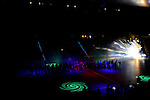 Berlin, Germany, January 31: Teams line up before the 1. Bundesliga Herren Hallensaison 2014/15 semi-final hockey match between Harvestehuder HTC(black/yellow) and HTC Uhlenhorst Muehlheim (white/green) on January 31, 2015 at the Final Four tournament at Max-Schmeling-Halle in Berlin, Germany. Final score 6-3 (2-2). (Photo by Dirk Markgraf / www.265-images.com) *** Local caption ***