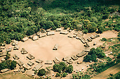 Bacaja village, Brazil. Aerial view of  forest, village, with circle of houses; Xicrin Indian tribe, Amazon.