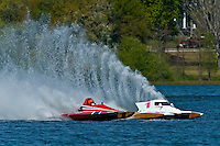 "John Shaw, T-125 ""My Shameless Mistake"", 1 Litre Stock class hydroplane and Alexis Weber, T-10 ""Flirtin' With Disaster"", 1 Litre Stock hydroplane."