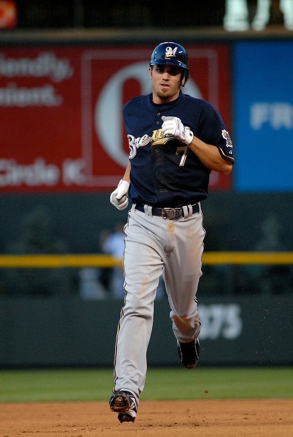 06 June 08: Milwuakee Brewers shortstop J.J. Hardy rounds the bases after hitting a homerun against the Colorado Rockies. The Rockies defeated the Brewers 6-4 at Coors Field in Denver, Colorado on June 6, 2008. For EDITORIAL use only