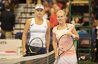 Feb 10, 2018; Asheville, NC, USA;<br /> Coco Vandeweghe (USA) and Richel Hogenkamp, (NED)