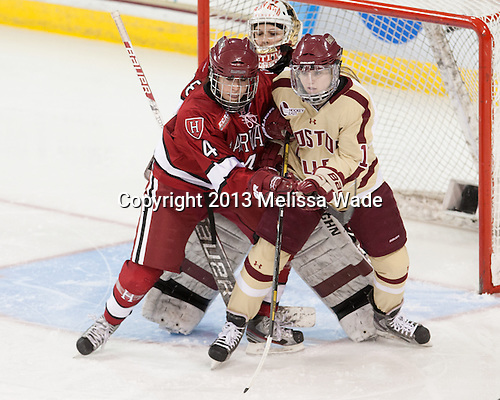 Hilary Hayssen (Harvard - 4), Emerance Maschmeyer (Harvard - 38), Emily Field (BC - 15) - The Boston College Eagles defeated the visiting Harvard University Crimson 3-1 in their NCAA quarterfinal matchup on Saturday, March 16, 2013, at Kelley Rink in Conte Forum in Chestnut Hill, Massachusetts.