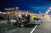 May 15, 2015; Commerce, GA, USA; Crew members wait with NHRA top fuel driver Dave Connolly for their turn during qualifying for the Southern Nationals at Atlanta Dragway. Mandatory Credit: Mark J. Rebilas-USA TODAY Sports