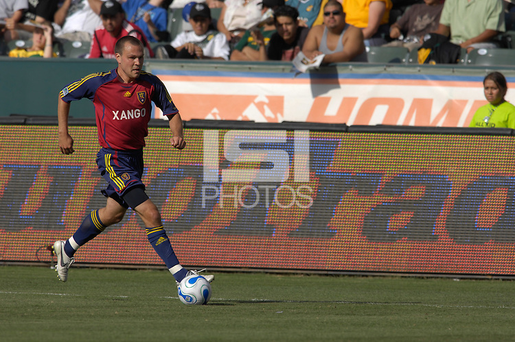 Chris Brown runs up the sideline. The Los Angeles Galaxy defeated Real Salt Lake, 3-2, at the Home Depot Center in Carson, CA on Sunday, June 17, 2007.