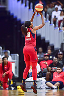 Washington, DC - August 17, 2018: Washington Mystics forward LaToya Sanders (30) hits a open shot during game between the Washington Mystics and Los Angeles Sparks at the Capital One Arena in Washington, DC. (Photo by Phil Peters/Media Images International)